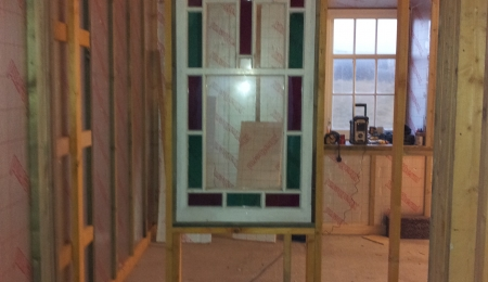 December 2013 - the stained glass window trying its new location